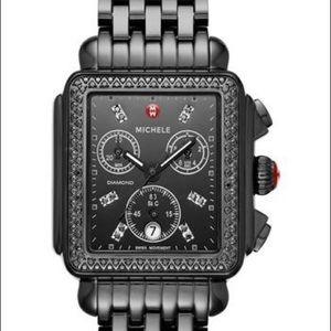 Deco Diamond Watch Head & Bracelet in Black